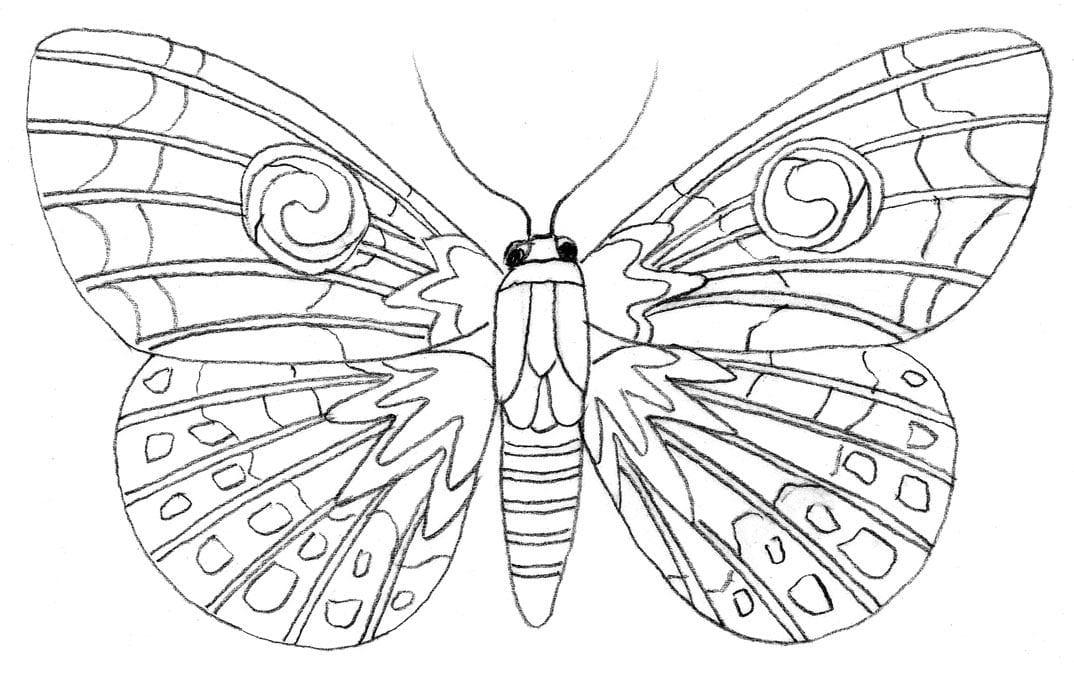 Malvorlage (leicht): Schmetterling