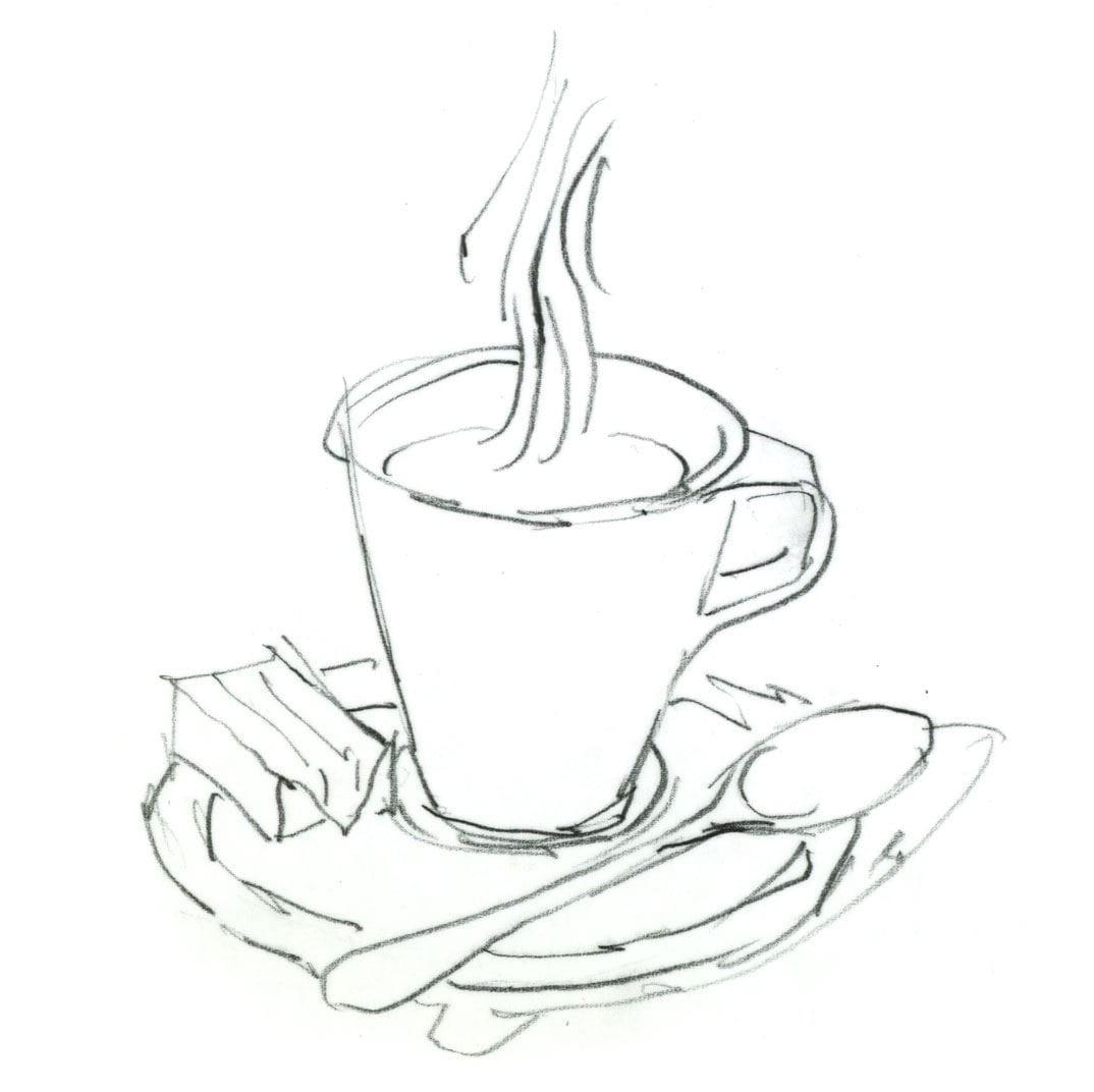 Espressotasse als Malvorlage und Ausmalbild