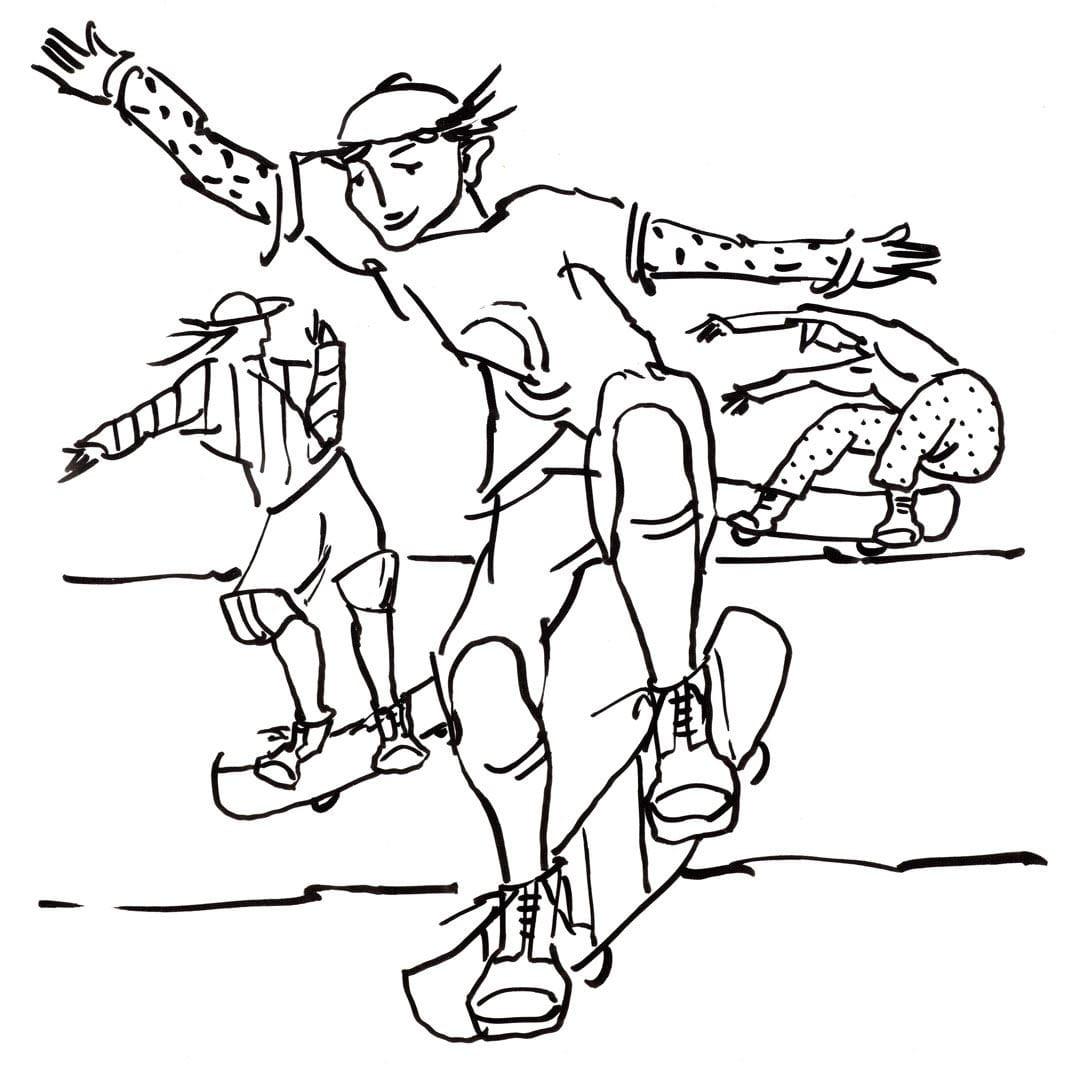 So malen Sie die Skater-Malvorlage aus (einfach)