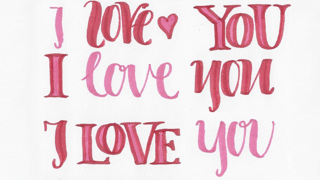 Selbstgestaltete Karten Zum Valentinstag Wir Lieben Handlettering