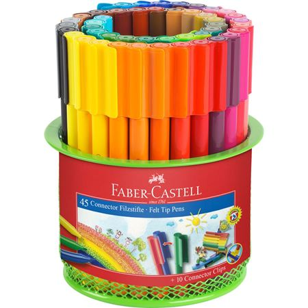 Faber-Castell - Filzstift Connector Köcher 45-teilig