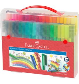 Faber-Castell - Connector Filzstift- Set Koffer, 92-teilig