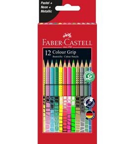Faber-Castell - 12 Colour Grip Farbstifte Pastell-Neon Etui