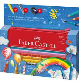Faber-Castell - Colour Grip Malset Ballon im Metalletui, 18-teilig