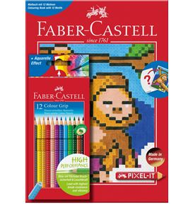 Faber-Castell - Colour Grip 12er-Etui + Pixel-it Buch