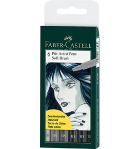 Faber-Castell - Pitt Artist Pen Soft Brush Tuschestift, 6er Etui