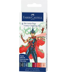 Faber-Castell - Pitt Artist Pen Brush Tuschestift, 6er Etui, Colouring Set