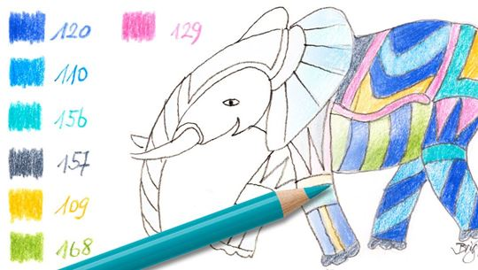 Colouring pages (easy): Little elephant